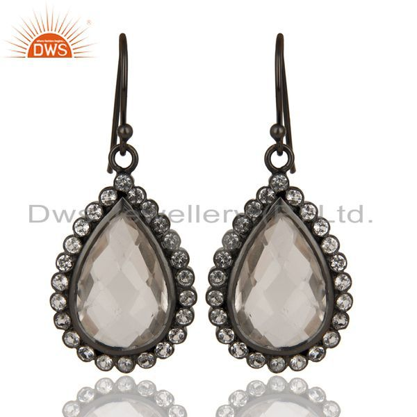 Black Oxidized 925 Sterling Silver White Topaz & Crystal Quartz Drops Earrings