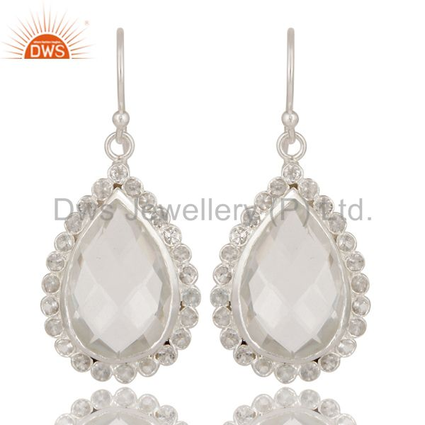 Solid 925 Sterling Silver Crystal Quartz & White Topaz Teardrops Earrings