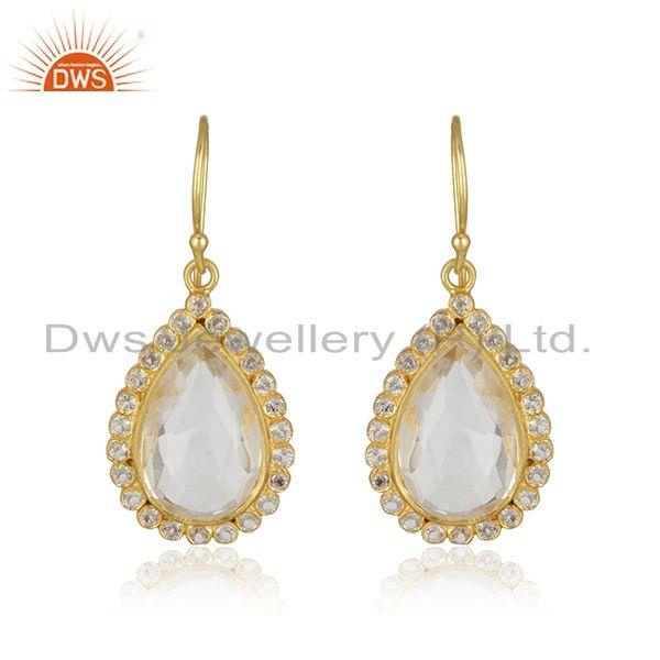 18K Yellow Gold Plated Sterling Silver White Topaz & Crystal Quartz Drop Earring