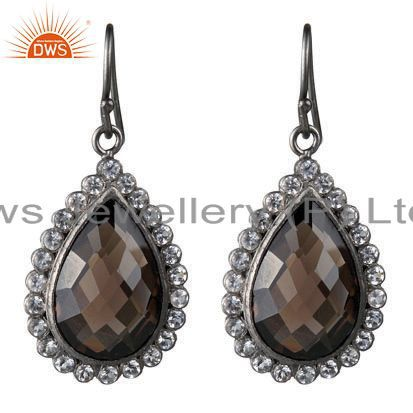 Oxidized Solid Sterling Silver White Topaz And Smoky Quartz Dangle Earrings