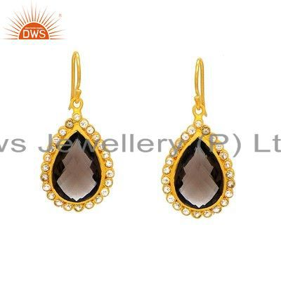 18K Yellow Gold Plated Sterling Silver White Topaz And Smoky Quartz Earrings
