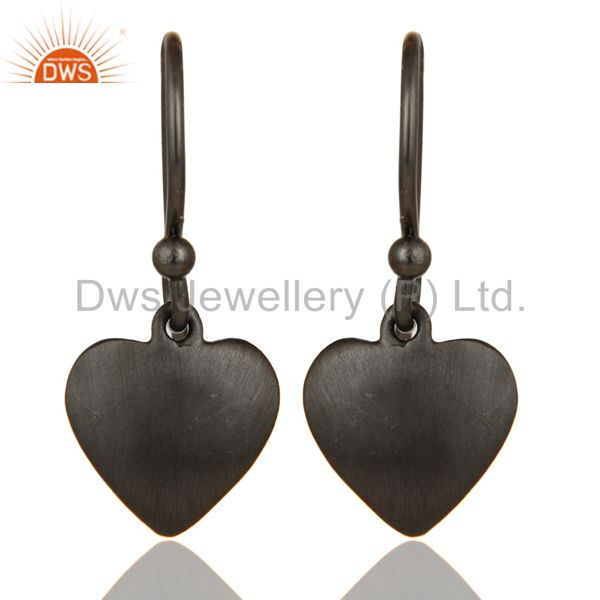 Heart Design Black Rhodium Plated Sterling Silver Handmade Earrings