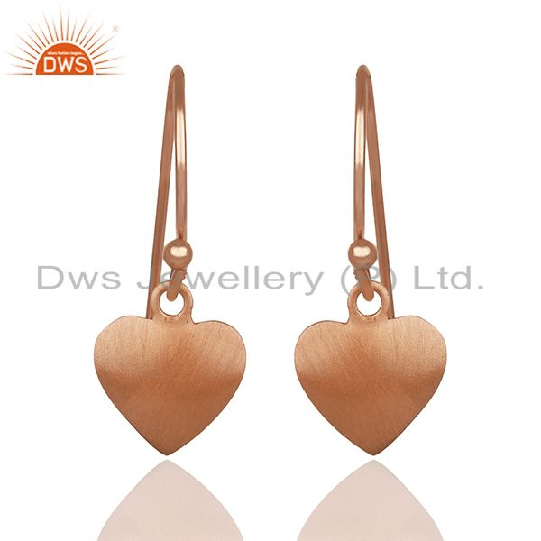 Heart Design Rose Gold Plated 925 Silver Girls Earrings Wholesale