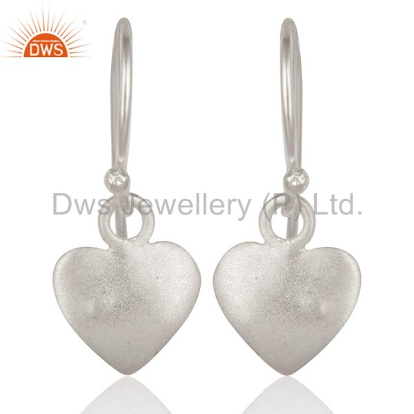 925 Sterling Silver Brushed Heart Hook Dangle Earrings