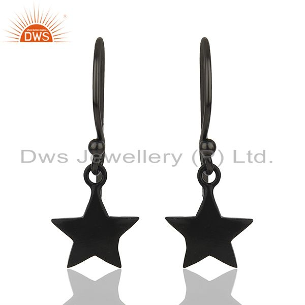 Sterling Silver Black Rhodium Plated Star Charm Earrings Manufacturer