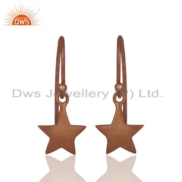 Solid Plain 92.5 Silver Rose Gold Plated Star Charm Earrings Jewelry