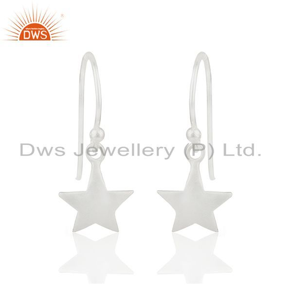 Handmade 925 Sterling Silver Star Charm Girls Drop Earrings Wholesale