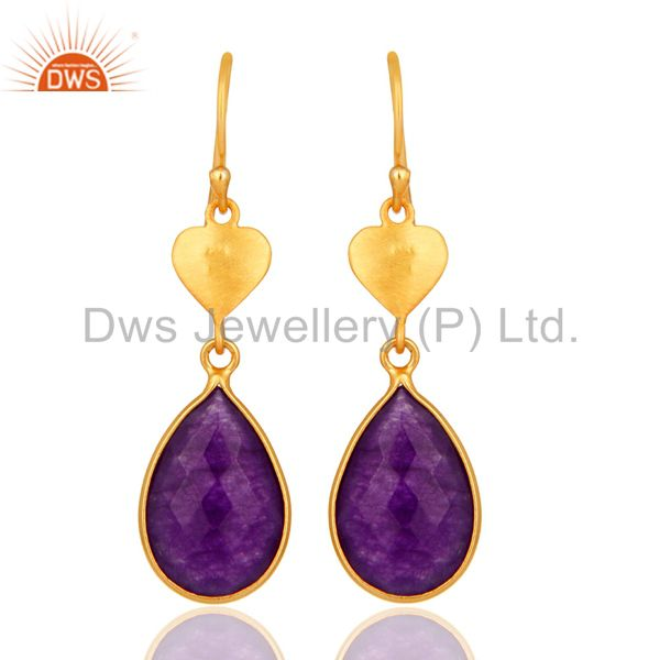 Gold Plated Sterling Silver Aventurine Amethyst Bezel-Set Drop Earrings