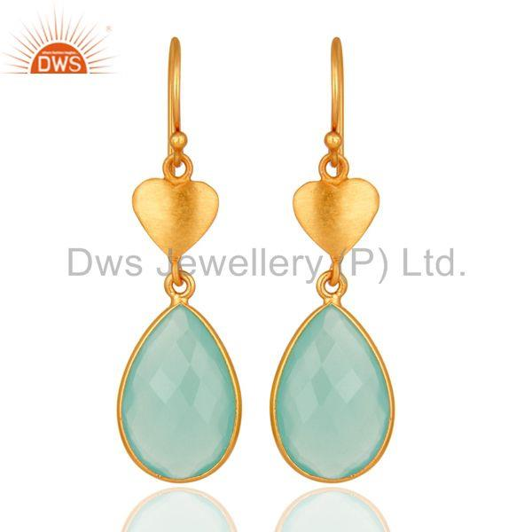 Designer 925 Sterling Silver Dyed Aqua Blue Chalcedony Earrings - Gold Plated