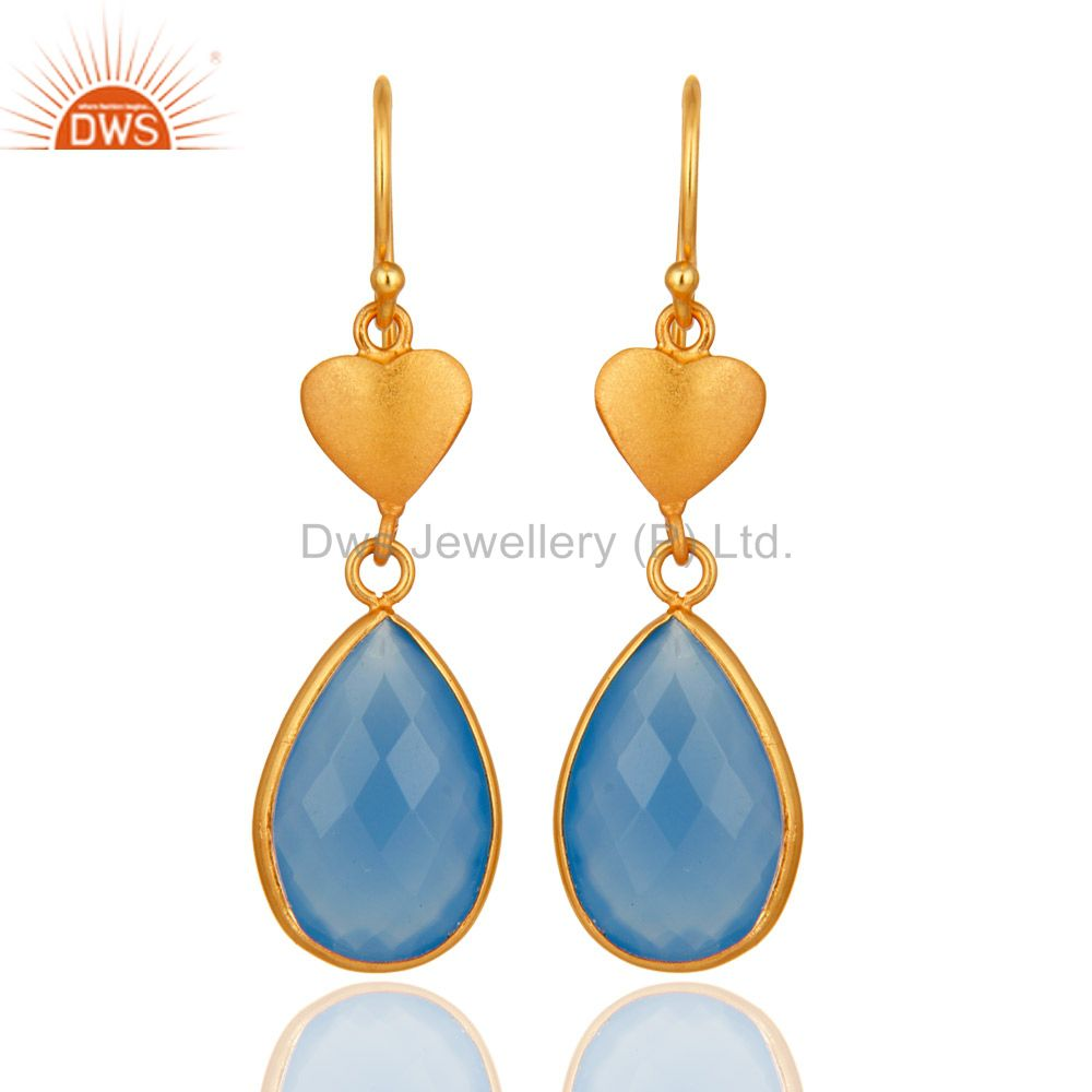 Faceted Blue Chalcedony Gemstone Dangle Earrings In 18K Gold On Sterling Silver