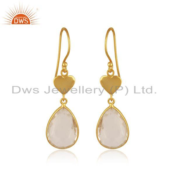Crystal Quartz Gold Plated Heart Shape 925 Silver Earring Manufacturer Jaipur