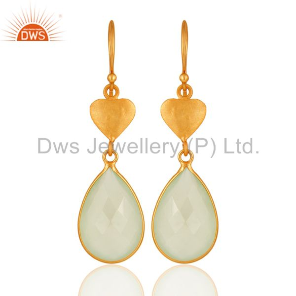 Faceted Green Chalcedony Gemstone Sterling Silver Earrings With 18K Gold Plated