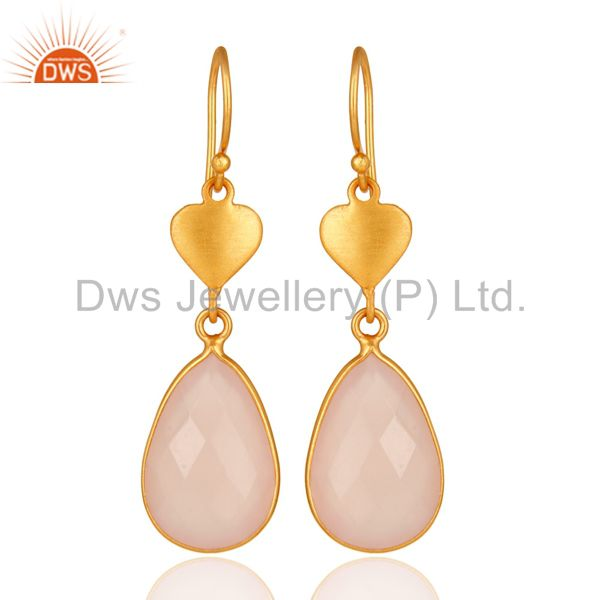 18K Yellow Gold Plated Sterling Silver Handmade Earrings With Rose Chalcedony