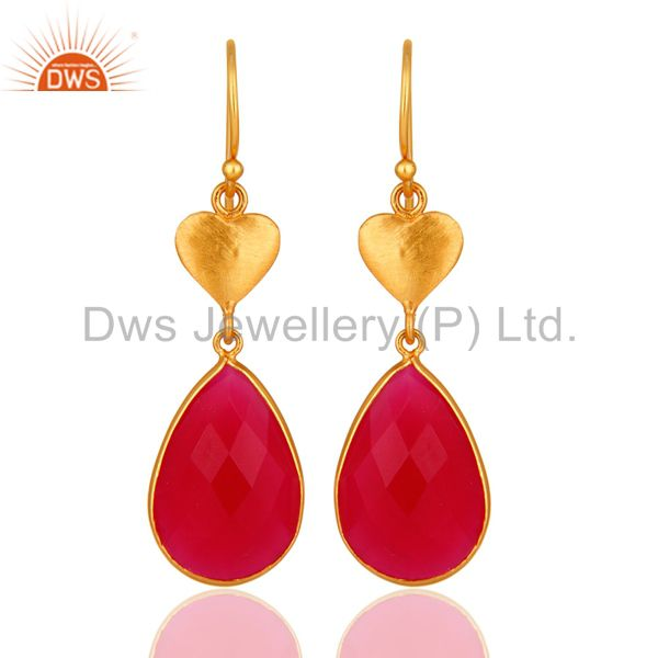Faceted Pink Chalcedony Pear Shaped Dangle Earrings In 18K Gold Over Silver