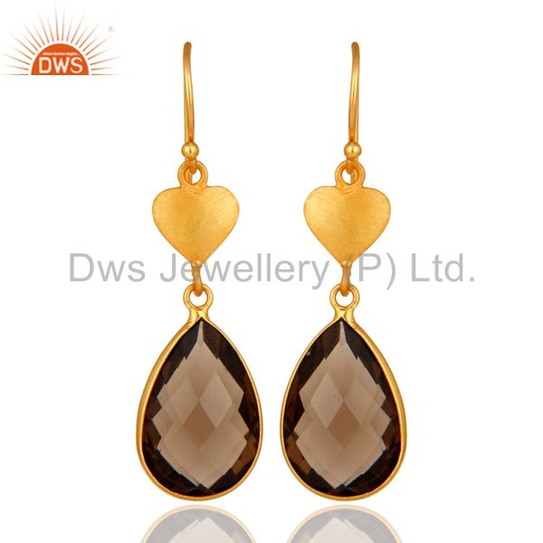 Faceted Smoky Quartz Gemstone Pear Shape Stone Earrings In 18K Gold Over Silver