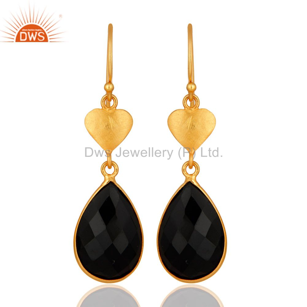 Faceted Black Onyx Gemstone Dangle Earrings In 18K Gold Over Sterling Silver