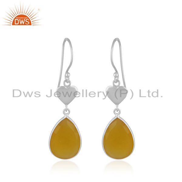 Yellow Chalcedony Gemstone 925 Sterling Silver Heart Earring Manufacturer India