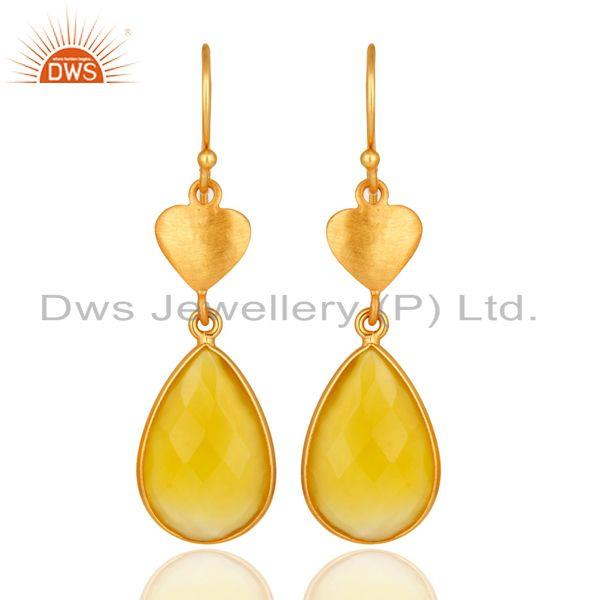 24K Gold On Silver Yellow Chalcedony Gemstone Beautiful Designer Dangle Earrings