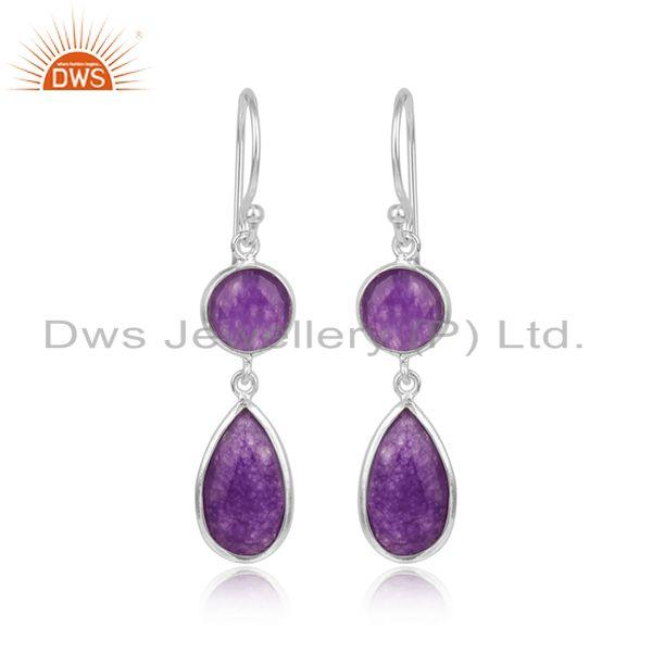 Aventurine gemstone womens 925 sterling fine silver earrings