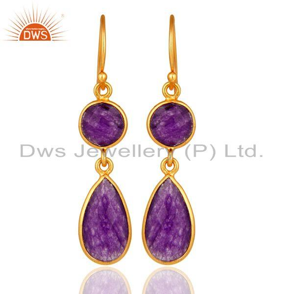 Faceted Purple Chalcedony Sterling Silver Ladies Dangle Earrings - Gold Plated