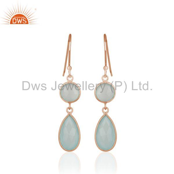 Handmade Rose Gold Plated 925 Silver Aqua Chalcedony Gemstone Earring Wholesale