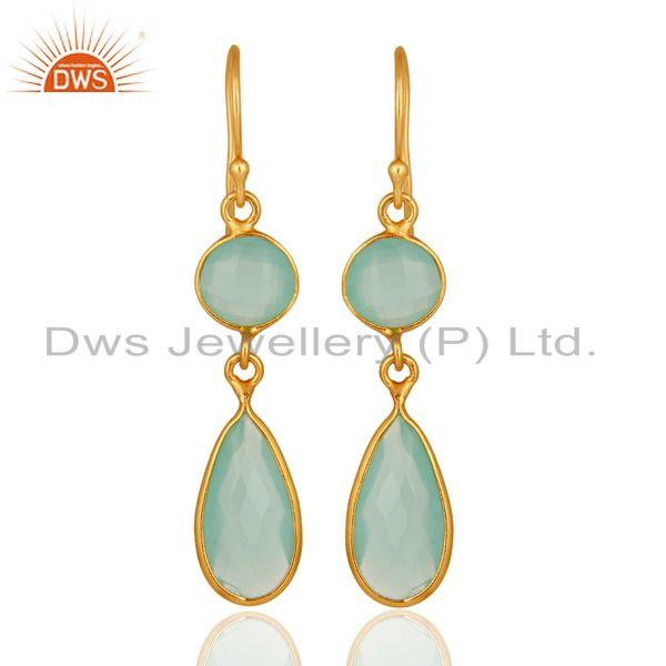 18K Yellow Gold Plated Sterling Silver Handmade Dyed Chalcedony Dangle Earrings