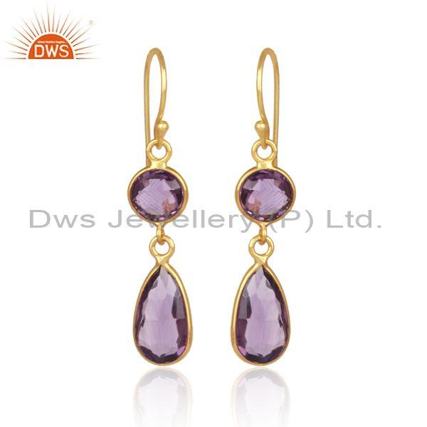 Amethyst set gold on sterling silver drop classic earrings