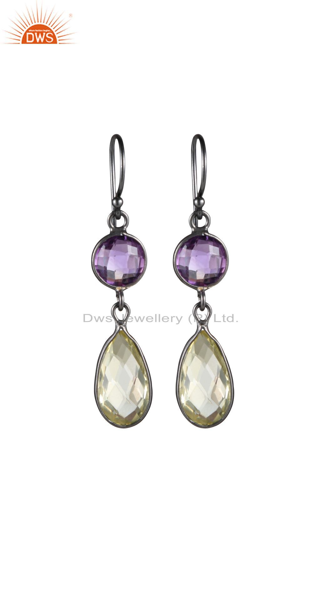 Oxidized Sterling Silver Lemon Topaz And Amethyst Gemstone Dangle Earrings