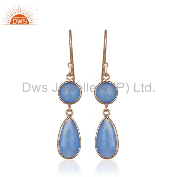 Blue Chalcedony Gemstone Rose Gold Plated 925 Silver Earring Manufacturers