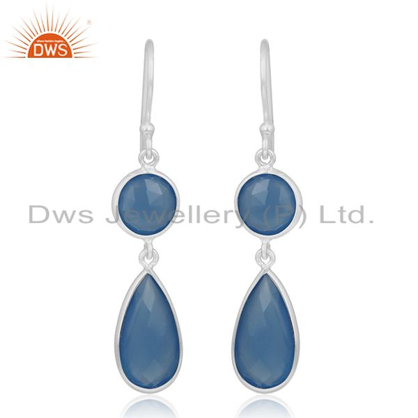 Blue Chalcedony Gemstone 925 Silver Dangle Earring Manufacturer