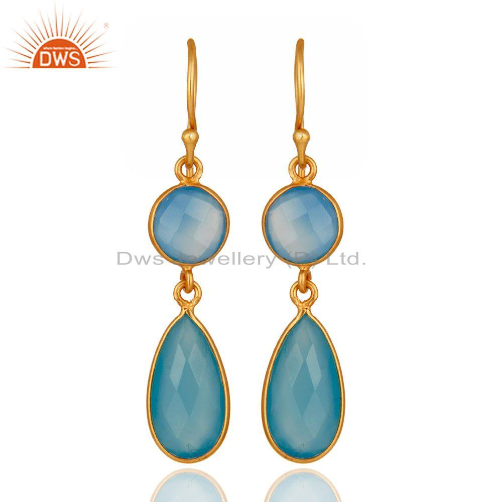 Faceted Dyed Blue Chalcedony Gemstone Dangle Earrings In 18K Gold Over Silver