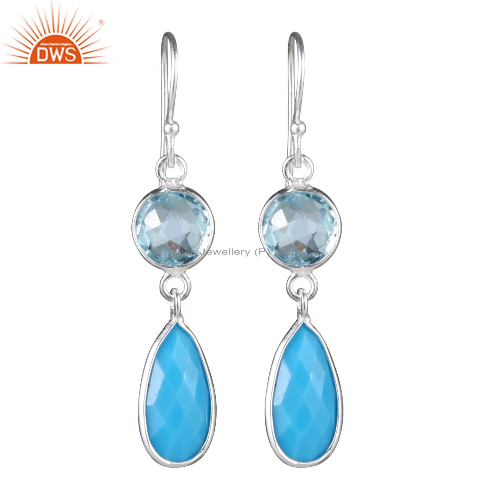 925 Sterling Silver Turquoise And Blue Topaz Bezel Set Double Dangle Earrings