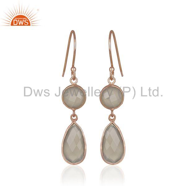 Grey Chalcedony Gemstone 925 Silver Rose Gold Plated Handmade Earrings Supplier