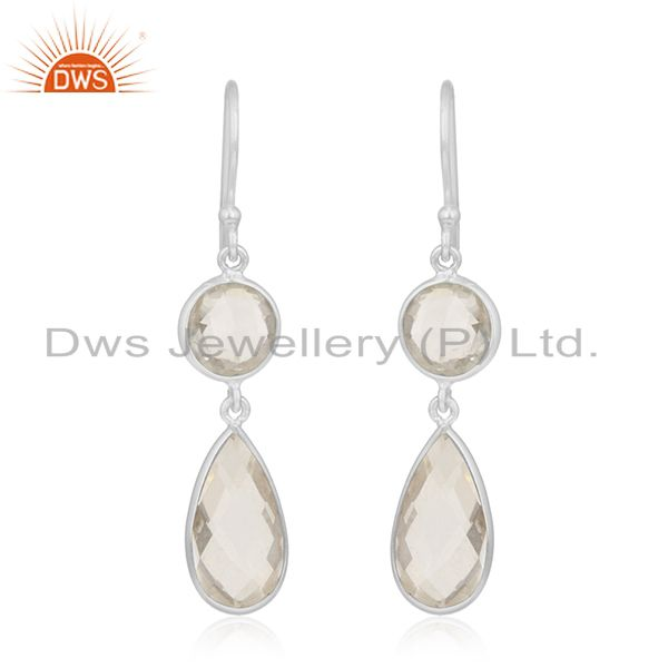 Crystal Quartz 925 Sterling Silver Dangle Earring Manufacturer of Custom Jewelry