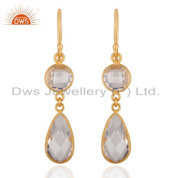 18k Gold Plated Sterling Silver Crystal Quartz Bezel Set Drop Earrings