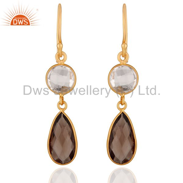 18K Yellow Gold Plated Silver Crystal Quartz And Smoky Quartz Drop Earrings