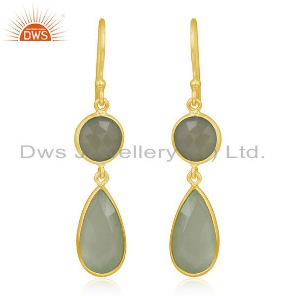 Faceted Green Chalcedony Gemstone Gold Plated Sterling Silver Dangle Earrings