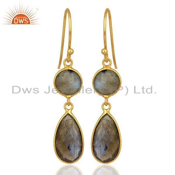 Labradorite Dangle 14K Gold Plated 925 Sterling Silver Earrings Gemstone Jewelry