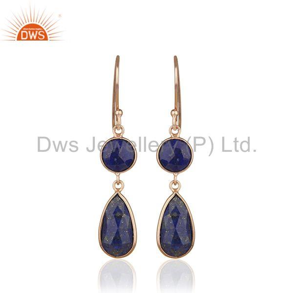 Handmade Rose Gold Plated 925 Silver Lapis Lazuli Gemstone Earring Manufacturers