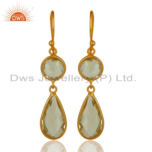 Lemon Topaz Bezel Set Gemstone Dangle Earrings Made In 18K Gold Over Silver