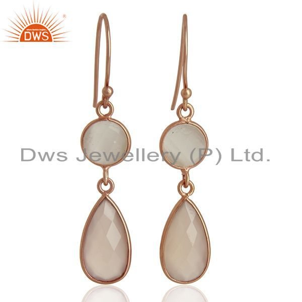 18K Rose Gold Plated Sterling Silver Chalcedony Gemstone Bezel Set Drop Earrings