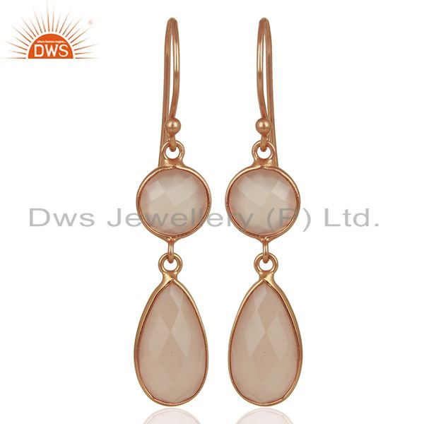 Rose Chalcedony Round Teardrop Sterling Silver Rose Gold Plated Dangle Earring