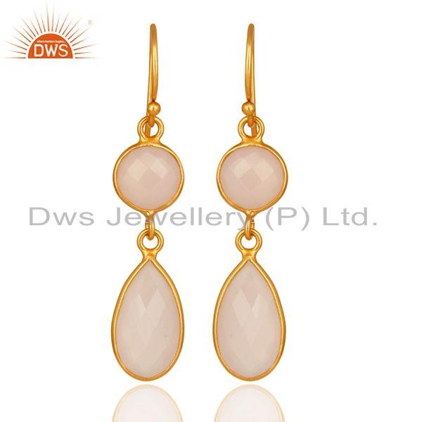 18K Gold Plated Sterling Silver Rose CHalcedony Gemstone Earrings