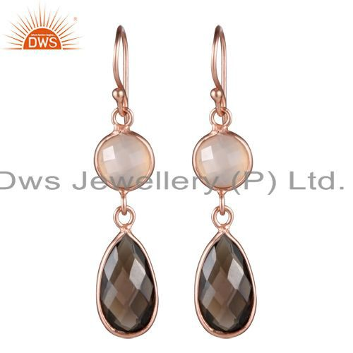 18K Rose Gold Plated Sterling Silver Rose Chalcedony And Smoky Quartz Earrings