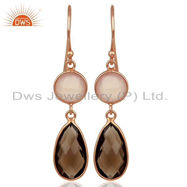 14K Rose Gold Plated Silver Rose Chalcedony And Smoky Quartz Bezel Set Earrings