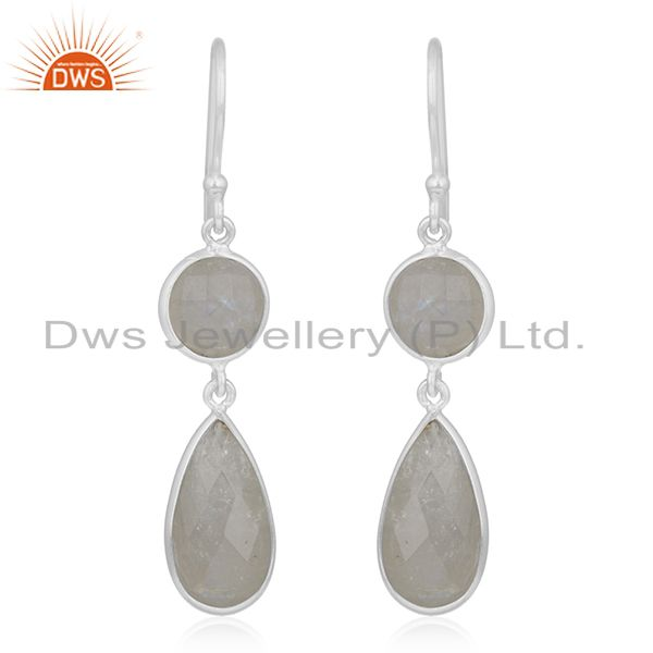 Rainbow Moonstone 925 Sterling Silver Earring Wholesale Supplier from India