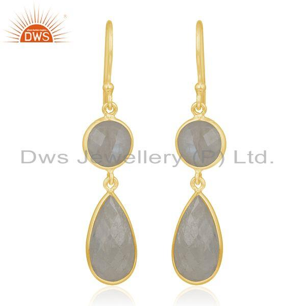 925 Silver Gold Plated Rainbow Moonstone Earring Wholesale Supplier