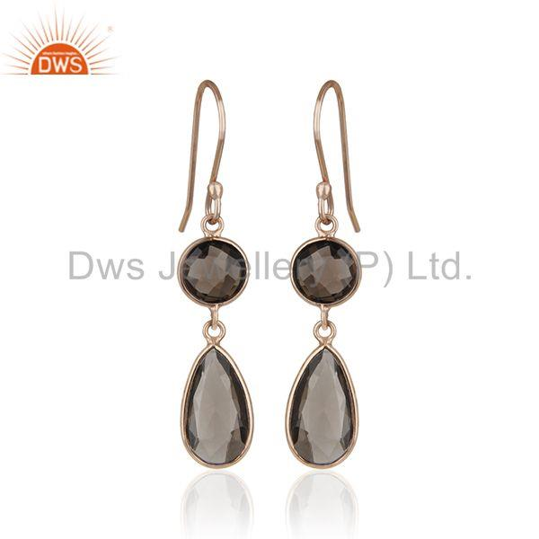 Smoky Quartz Gemstone Rose Gold Sterling Silver Customized Earring Manufacturers