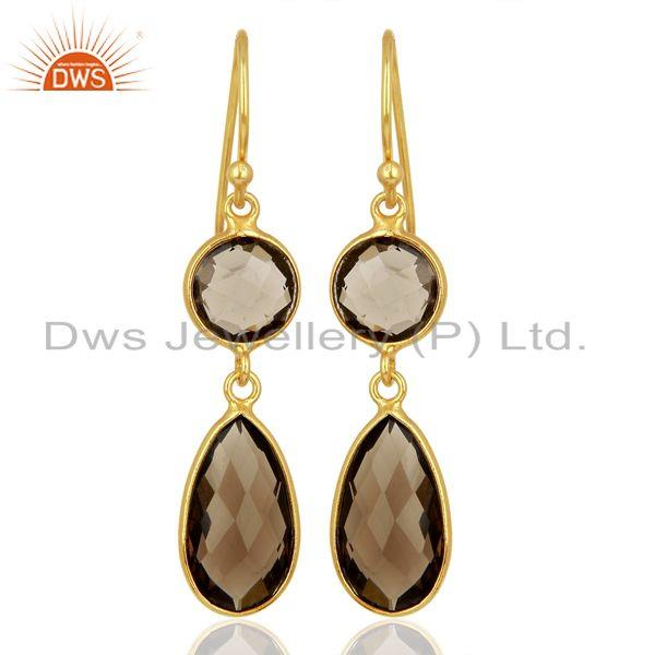 Double Faceted Natural Smoky Quartz Plated Gold Sterling Silver Bezel Earrings