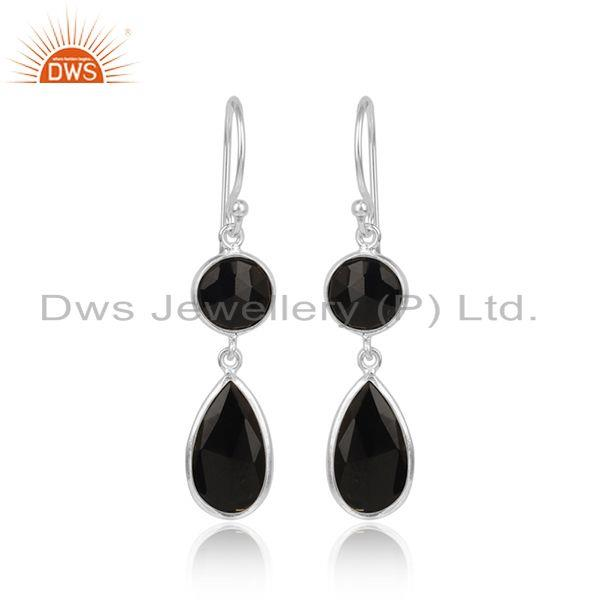 Black Onyx Gemstone Designer 925 Sterling Silver Hook Earrings